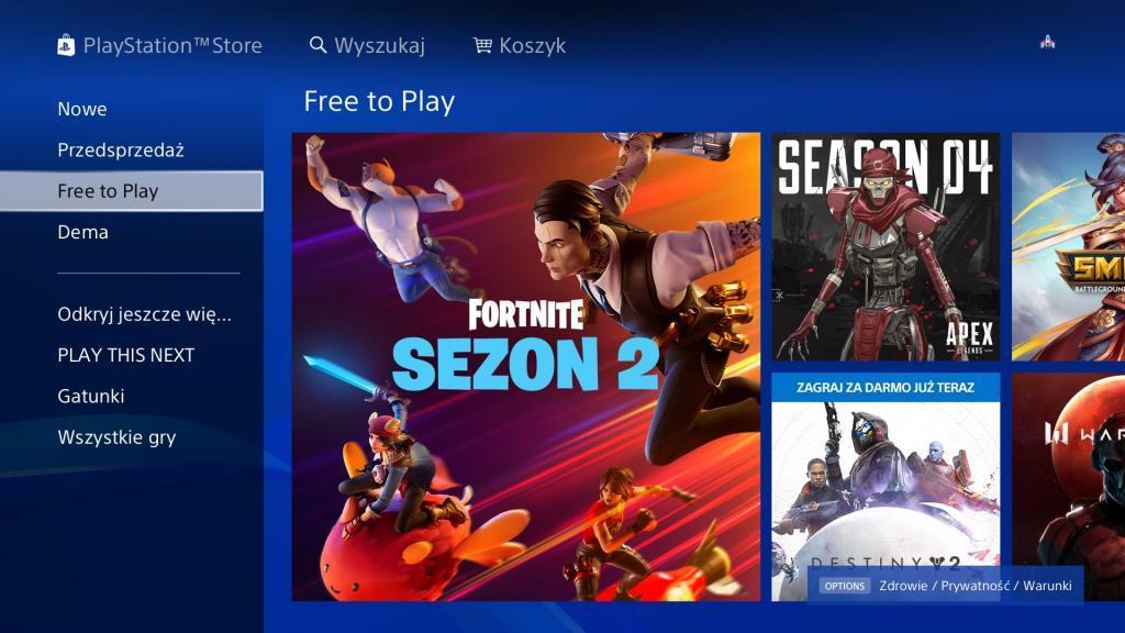 Jedna z aplikacji PS4 - PlayStation Store