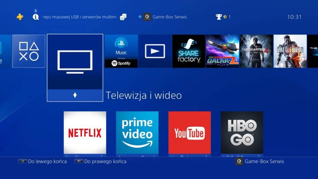 Aplikacje wideo dostępne na PS4
